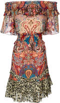 Roberto Cavalli patterned bardot dress