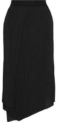 Vince Wrap-effect Plisse-crepe Midi Skirt