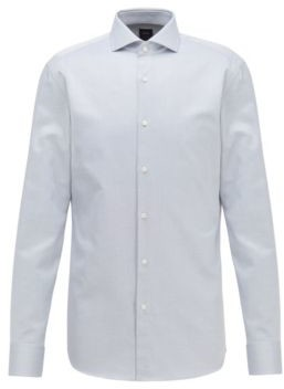 BOSS Slim-fit shirt in Italian micro-structured cotton twill