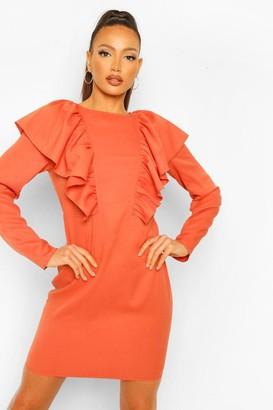 boohoo Tall Ruffle Long Sleeve Woven Mini Dress