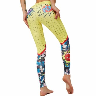 SotRong Women's Fashion Printed Pattern Tights Ankle Length Elastic Waisted Yoga Leggings Casual Workout Trousers for Girls Yellow L