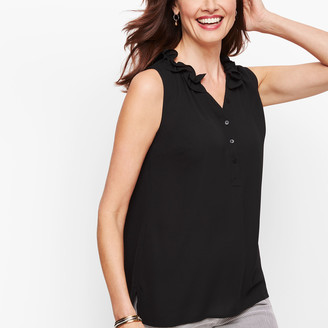 Talbots Sleeveless Ruffle Neck Popover