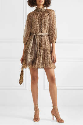 Zimmermann Espionage Pussy-bow Leopard-print Silk-georgette Mini Dress - Brown