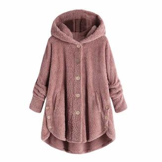 DEELIN 2019 Sale Women's Coats Long Winter Casual Solid Button Big Pockets Cloak Coats Vintage Coats Plush Warm Outwear Hooded Overcoat Plus Size(Wine XL)