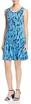 Leota Savvy Brush Stroke Print Ruffle Dress
