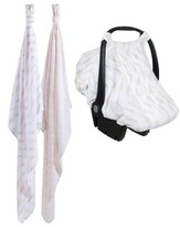 Bebe Au Lait Infant 2-Pack Muslin Swaddling Cloths & Car Seat Cover Set