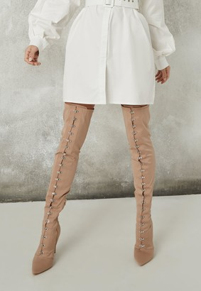 Missguided Nude Satin Hook And Eye Thigh High Boots