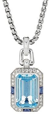 David Yurman Novella Pendant with Blue Topaz, Sapphire & Pave Diamonds