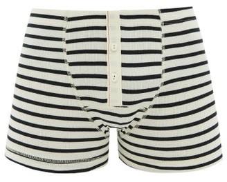 Hemen Biarritz - Albar Striped Cotton-blend Boxer Briefs - Mens - Cream Navy