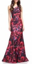 David Meister Floral One Shoulder Evening Dress
