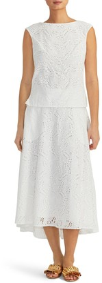 Rachel Roy Eyelet Cotton Midi Circle Skirt