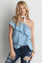 American Eagle Outfitters AE One Shoulder Chambray Shirt