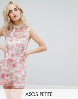 Asos High Neck Printed Occasion Lace Romper
