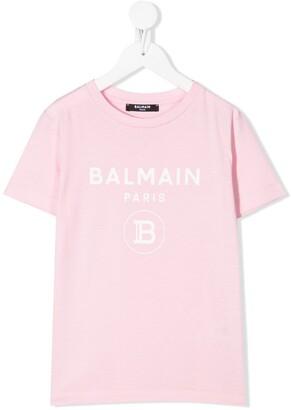 Balmain Kids central logo cotton T-shirt