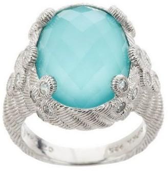 Judith Ripka Sterling Diamonique & Turquoise Cocktail Ring