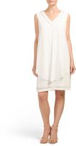Pearl V Neck Overlay Dress