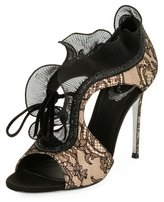 Rene Caovilla Lace Beaded Ruffle Sandal, Black