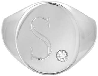 Zoe Lev Jewelry Large Personalized Initial Signet Ring w/ Diamond, 14k White Gold