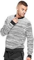 GUESS Men's Two Tone Crew Neck Sweater