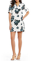 Chelsea & Theodore Roll-Tab Sleeve Floral Shift Dress