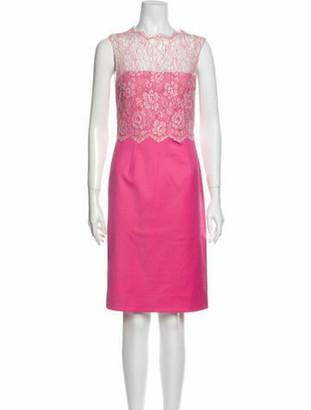 Valentino Colorblock Pattern Knee-Length Dress Pink