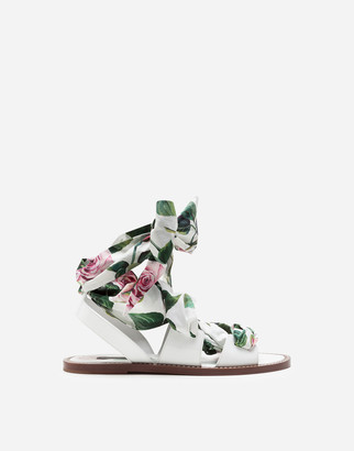 Dolce & Gabbana Patent Leather And Poplin Tropical Rose Print Sandals