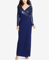 Lauren Ralph Lauren Sequined-Lace Combo Gown