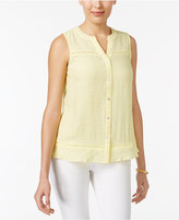 NY Collection Petite Embroidered-Trim Blouse