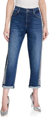 Escada Rhinestone-Seamed Cropped Jeans