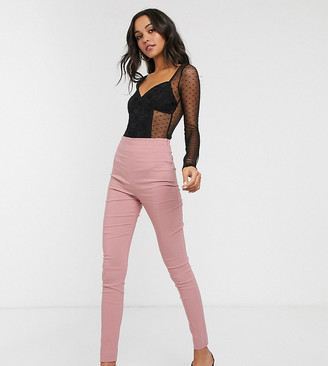 Asos Tall ASOS DESIGN Tall high waist trousers in skinny fit in pink