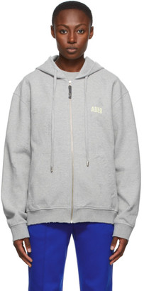 Ader Error Grey Masking Zip-Up Hoodie