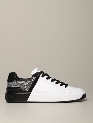 Balmain Sneakers In Bicolor Smooth Leather With Rhinestones
