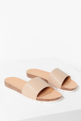 Nasty Gal Womens Step A-Slide Faux Leather Croc Sliders - Beige