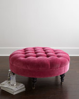 Horchow French Beret Tufted Velvet Round Ottoman