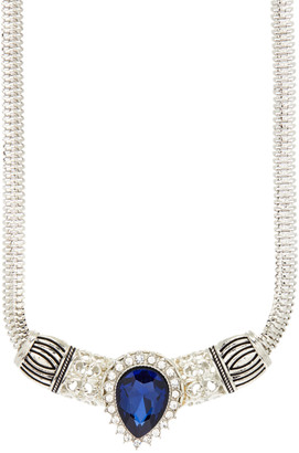Snap Jewels Women's Necklaces SILVER - Crystal & Silvertone Pear-Cut Cleopatra Snap Statement Necklace