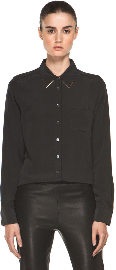 Equipment Brett Blouse with Plated Collar in Black