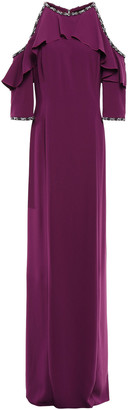 Jenny Packham Embellished Cold-shoulder Ruffled Stretch-crepe Gown
