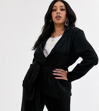 Unique 21 Hero Plus relazed blazer with tie waist in shimmer co-ord