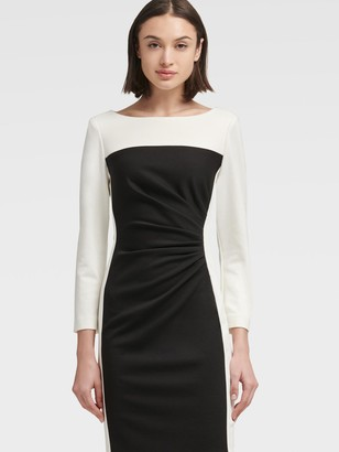 DKNY Women's Ruched Colorblock Sheath Dress - Black Ivory - Size 10