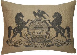 "Polkadot Apple Pillows Horse Crest Burlap Pillow, 12""x16"""