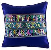 Blue Bird Theme Maya Backstrap Woven Cotton Cushion Cover, 'Quiche Birds'