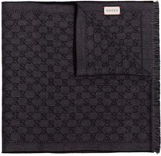 Gucci black logo wool scarf