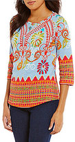 Multiples Petites Boat-Neck 3/4 Sleeve Border Print Knit Top