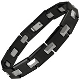 Zales Men's Two-Tone Tungsten and Ceramic Link Bracelet