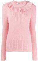 Miu Miu ruffled detailed knitted sweater
