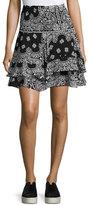 A.L.C. Vera Silk High-Waist Bandana Skirt, Black/White