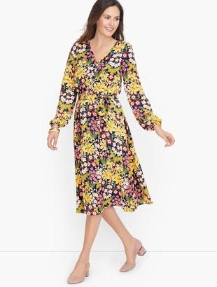 Talbots Jersey V-Neck Garden Floral Dress