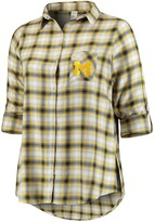 Unbranded Women's Plus Size Concepts Sport Navy/Gold Michigan Wolverines Forge Rayon Flannel Long Sleeve Button-Up Shirt