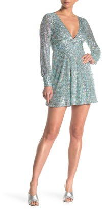Love, Nickie Lew Long Sleeve Sequin V-Neck Skater Dress