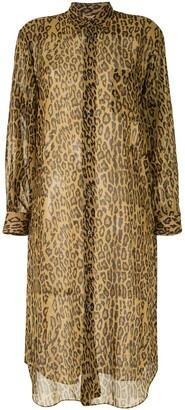Junya Watanabe Sheer Leopard Print Shirt Dress